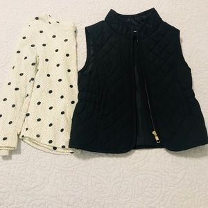 Polka dot tee and black quilt vest toddler size 3t